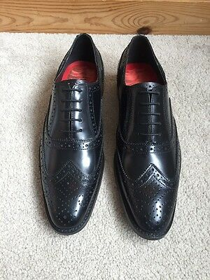 Mens Black Leather Brogues Shoes UK Size 8 BNIB