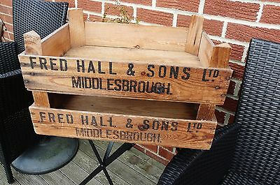Pair Vintage Fruit Crates  Fred Hall  Middlesbrough Original Not Reprinted