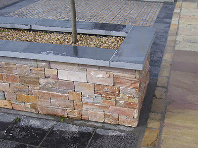 Black slate wall capping - Natural Slate coping stones 1200mm x 145mm x 30mm