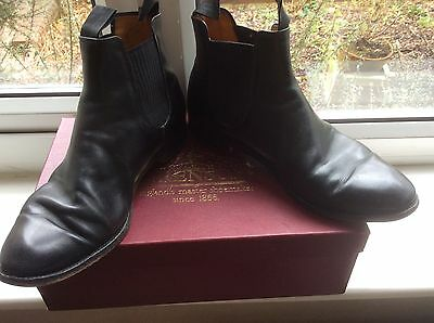 GRENSON footmaster 'NOLAN' Black Calf Leather Chelsea Ankle Boots UK 8.5