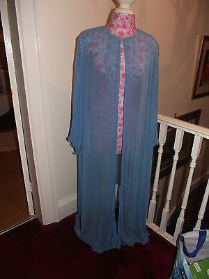 Vintage blue nylon Lacy Night Robe Gown Peignoir sheer dressing gown 70s