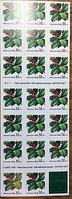 1997 AMERICAN HOLLY 32 Cent booklet of 20 MNH