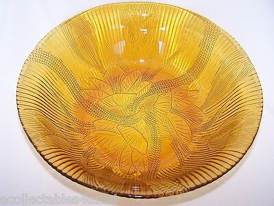 AMBER GLASS BOWL WATER LILLY PATTERN 1960s PISARI PERFECT VINTAGE COLLECTABLE