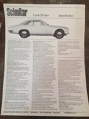 Reliant Scimitar 3 & 2.5 Litre Car Sales Brochure & Specification 1966  / 1967