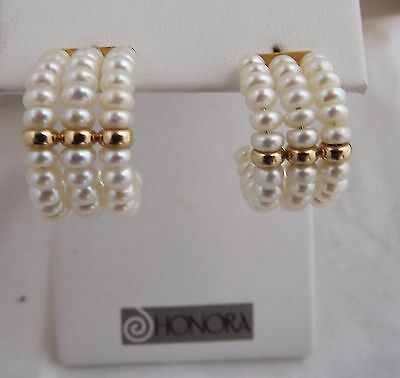Honora 14K Solid Gold Triple Coil  White Cultured Pearl  Earrings Estate