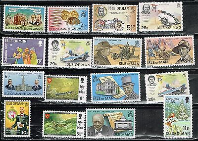 (14-242 16 Assorted Mint  Postage sTamps from the Isle of Man