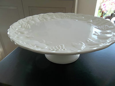 Marks & Spencer White Embossed Fruit Pattern Cake Plate or Stand