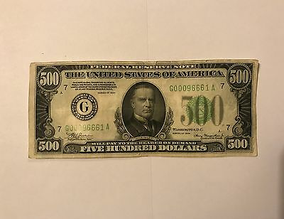 1934 $500 Chicago Federal Reserve Note Lime Green Seal