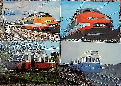 Set of 4 postcards of SNCF trains & railcars, purchased at Mulhouse Museum 1981