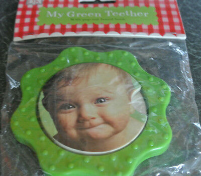 New baby Teether with integral board book green