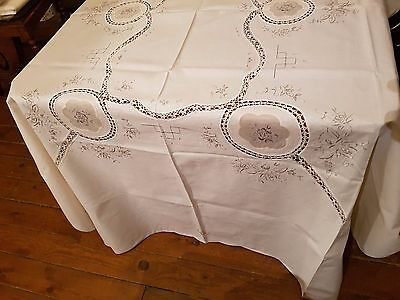 Vintage Hand Embroidered Chinese Rice Linen Lace Tablecloth & 8 Napkins