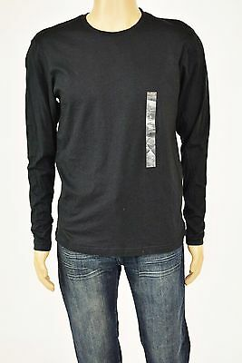 New Alfani Men's Long Sleeves Crew Neck Cotton Black Solid  T-Shirt Size Small