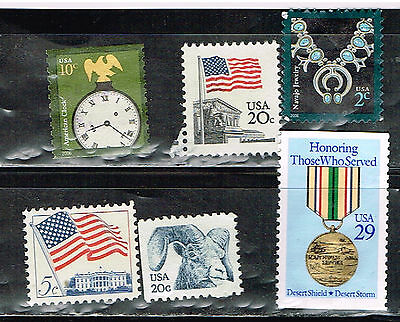 (14-174) 6  Assorted Uncancelled  US  Postage sTamps