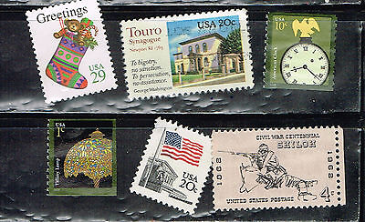 (14-168) 6 Assorted Unpostmarked  US  Postage sTamps