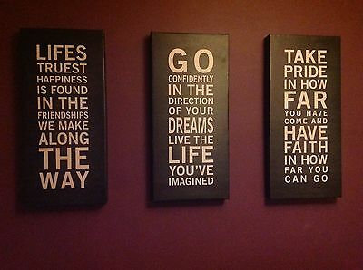 Inspirational Quote Canvas Wall Art x 3