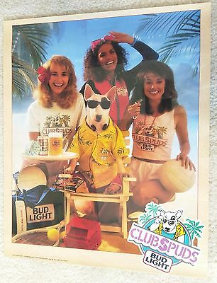 Spuds Mackenzie / 1988 Budweiser Light Club Spuds Promo 2 Sided Poster Mint