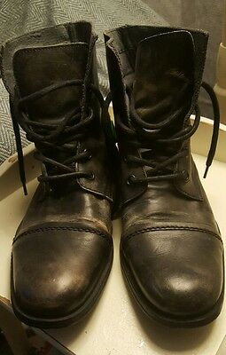 nushu boots leather grey military ankle chukka style size 8 distressed look
