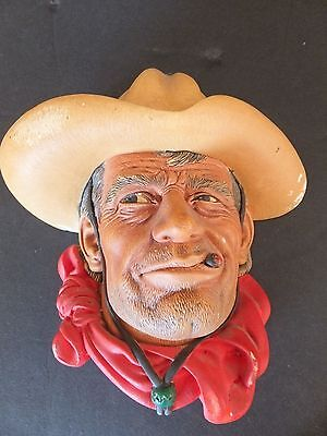 Rawhide Vintage Bossons Wall Plaque 1967 Chalkware Cowboy Face Head People