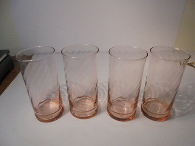 """Arcoroc France Pink Swirl Rosaline Water Glasses Set Of Four Large Tumblers 6"""""""