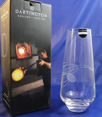 "Dartington Celebrate Silver Wedding Vase clear with etched ""25"" brand new in box"