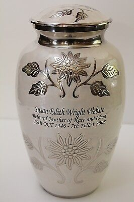Adult pearl white brass cremation urn, new urns with a free keepsake