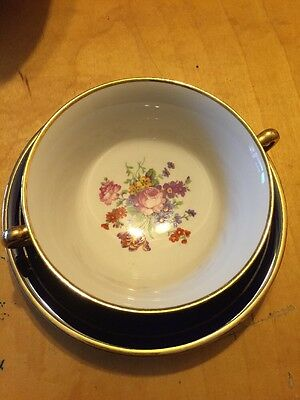 SYRACUSE CHINA COBALT BLUE OLD IVORY  CREAM SOUP & SAUCER With Flowers