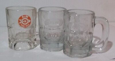 A & W Rootbeer 3 Small Glass Mugs About 3-1/4 in Tall