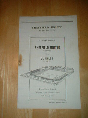 1963/4 Sheffield United V Burnley Reserves