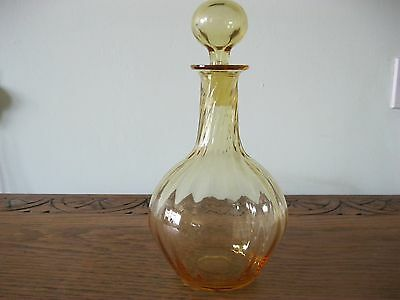 A Vintage hand blown Whitefriars  amber glass decanter.