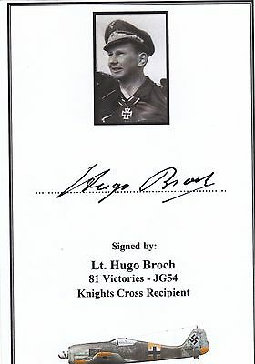 SIGNED WWII Veteran Bookplate/Card: Luftwaffe Fw-190 Fighter Ace Broch (81 Vict)