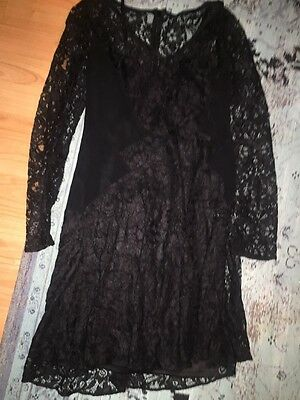 Asos Black Lace Long Sleeve Dress Witchy Size 8