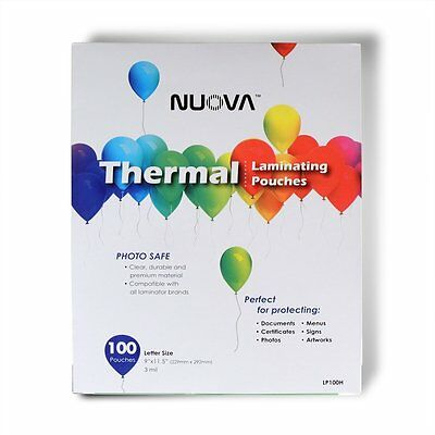 "Nuova Premium Thermal Laminating Pouches 9"" x 11.5"", Letter Size, 3 mil , 100"