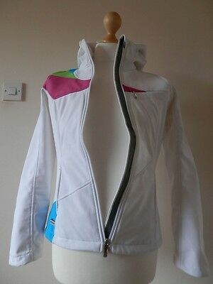 SPYDER Arc Womens ACTIVE Soft Shell Hoodie, White with Fur Trim - Size SMALL