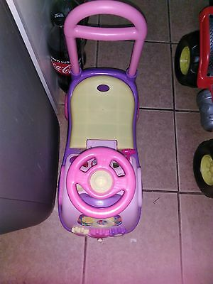 Kids Push Along First Ride On Car Toddler Walker Child Pink Truck Girl Baby Toy