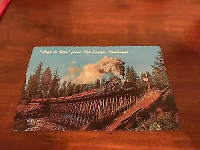Vintage Postcard Logs to you from the Pacific Northwest 1950's or  60's
