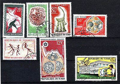 Ciad Lot Of 7 Used Stamps 1959 - 1972 Scott 65-90-94-133-163-C66-C142
