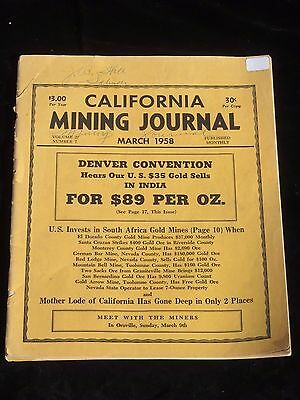 CALIFORNIA MINING JOURNAL, RARE, March 1958, Collectible, Gold Prospecting