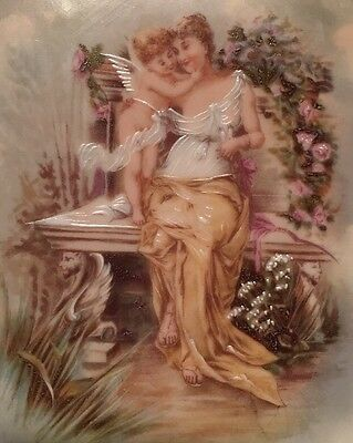 Mother And Sweet Angel Baby Hand painted Cabinet Plate Gilded