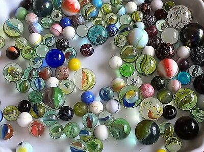 Vintage Marbles Assorted Colours & Sizes - Mixed Collection 1kg