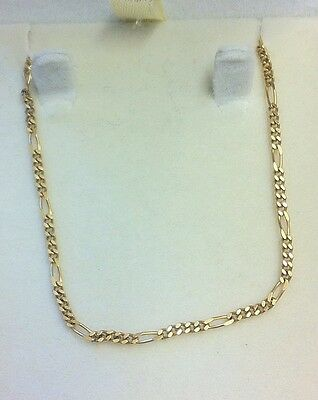 """9ct Fine Yellow Gold Necklace / 18""""chain Figaro Style Assay Stamped"""