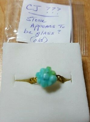 Vintage Cracker Jack Plastic Turquoise Colored Glass Ring Gold Band Toys