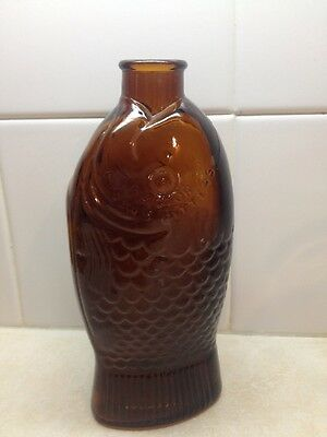 """VTG Wheaton 7 1/4"""" glass Doctor Fischs Bitters Fish Shaped Glass Bottle"""