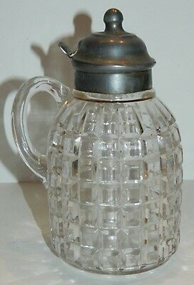 OK Antique Glass Syrup Pitcher w/ Pewter Top - Waffle Design - Patented 1884