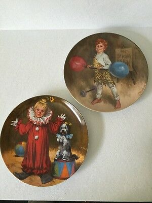 "Knowles Set Of (2) Plates ""Johnny The Strong Man & Tommy The Clown By John McCle"