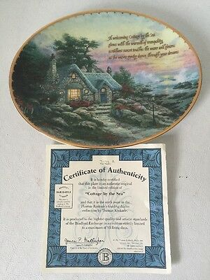 Thomas Kinkade 1988 Collector Plate Cottage By The Sea Guiding  Lights COA