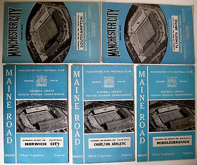 Manchester City. 1964/5 &1965/6 Division 2 - 5 Assorted Programmes.