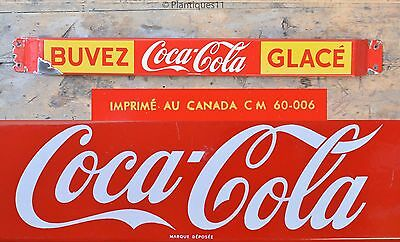 Vintage 1960 COCA COLA Soda Porcelain Advertising Sign Pushbar Door Push French