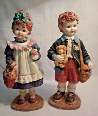 Very Detailed Boy and Girl Porcelain Figurines 11 1/2 ""