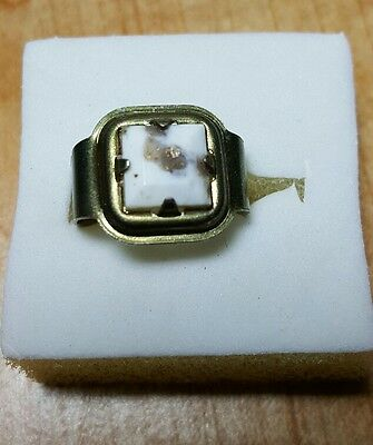 Vintage Cracker Jack White Marbleized With Gold Colored Ring Toys Gadgets