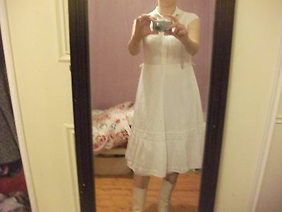 Vintage white midi dress prairie/Western style lace and ribbon trim size 10/12